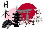 Japanese Landmarks — Wektor stockowy
