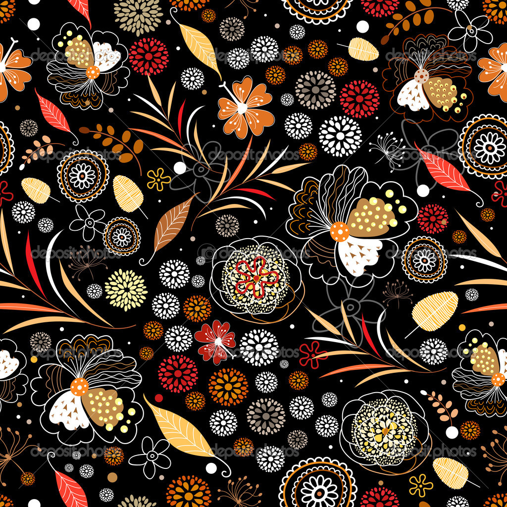 Seamless floral bright orange autumn pattern on a black background   Stock Vector #6779577