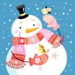 Stock Vector: Jolly snowman