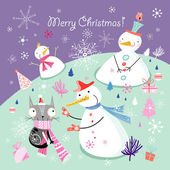 Greeting card with snowmen — Stock Vector