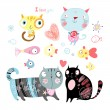 Stock Vector: Love cats