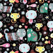 Texture of cat lovers — Vector de stock