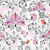 Květinová textury s ptáky — Stock vektor