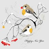 Winter postcard with birds — Stock Vector