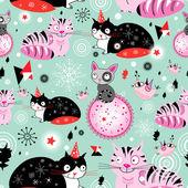 纹理的滑稽的猫 — 图库矢量图片