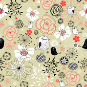 Floral pattern with birds — Stok Vektör
