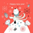 Christmas card with owls — Vector de stock #7310305