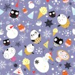 Snow texture with owls and snowmen — Vektorgrafik