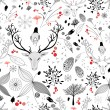 Winter floral design with deer - Stock Vector
