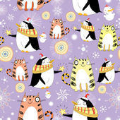 Funny texture with cats and penguins — Vecteur