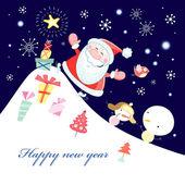 与圣诞老人贺卡 — 图库矢量图片