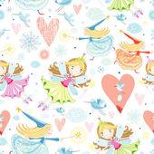 Texture with little fairies — Stock Vector