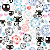 Abstract pattern with kittens and owls — Stock Vector