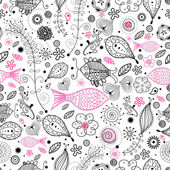 Floral pattern with the fishes — Stock Vector
