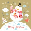 Greeting card with a cheerful snowman - Stock Vector