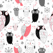 Stock Vector: Graphic pattern of owls