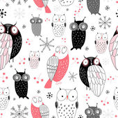 Graphic pattern of owls — Stock Vector