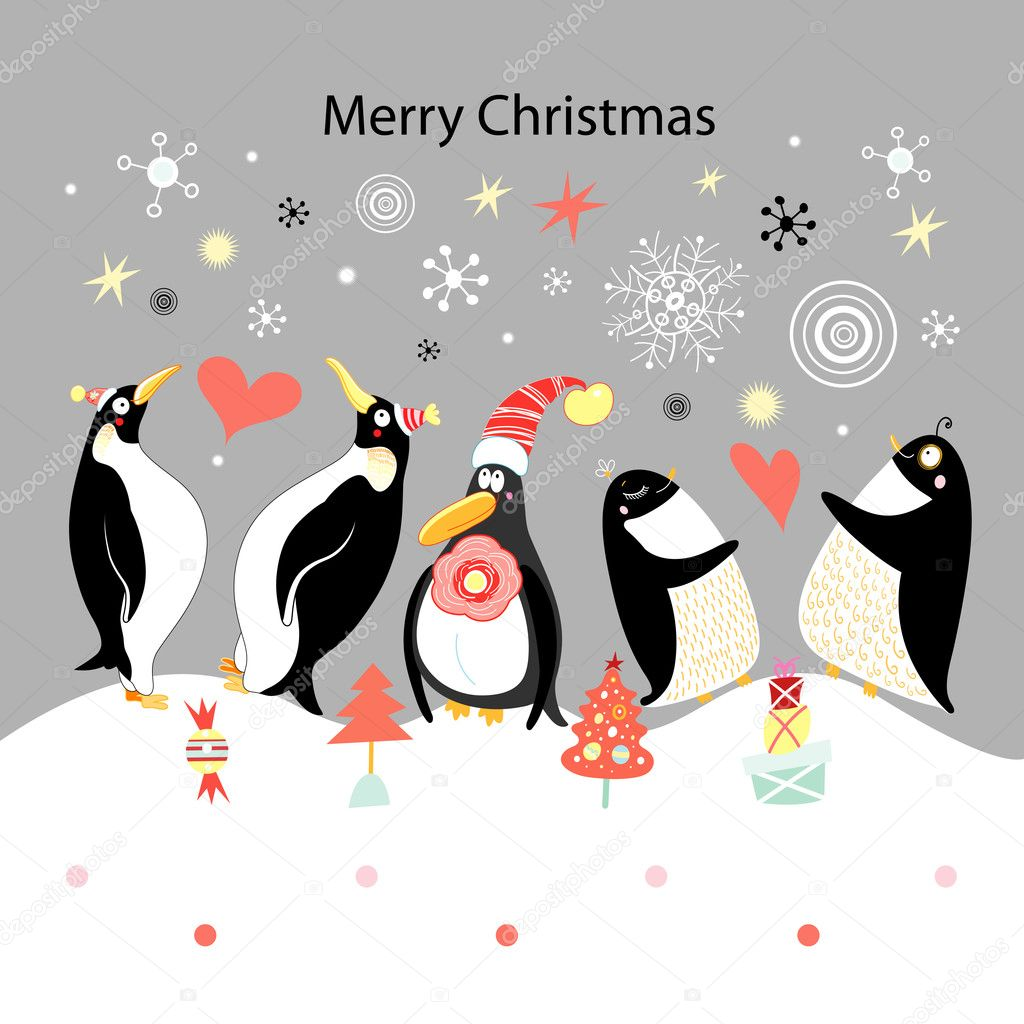 Greeting card with happy penguins stock vector tanor for Penguin christmas cards homemade