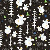 Kardan adam ve noel ağaçları — Stok Vektör