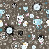 Texture décorative avec les chatons et les bonhommes de neige — Vecteur
