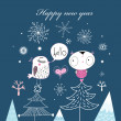 Christmas card with birds — Image vectorielle