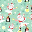 Seamless pattern of Santa and Penguins — Stock Vector