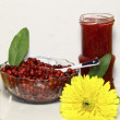 Comberry berries in a plate, jam and a yellow flower — Stock Photo