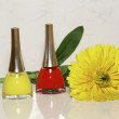 Nail polishes  and a yellow flower — Stock Photo