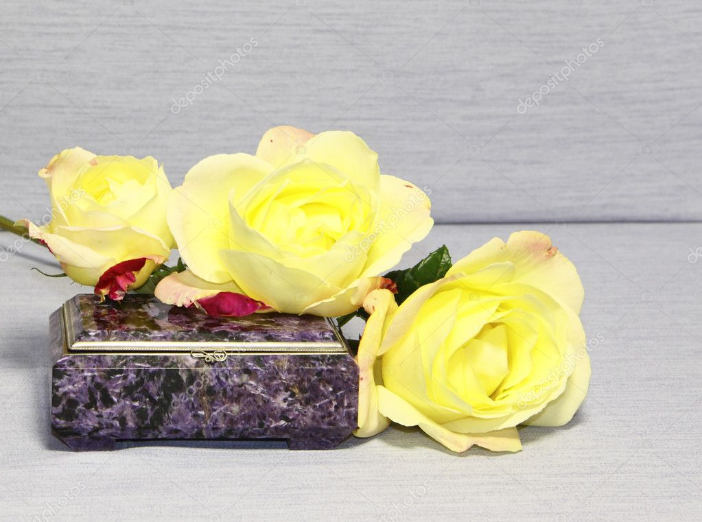 Yellow roses on a lilac casket on a grey background — Stock Photo #7238851