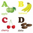 Alphabet letters A-D with fruits. — Stock Vector