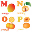 Alphabet letters M-P with fruits. — Vettoriale Stock