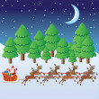 Santa Claus riding in sleigh with deers. — Stock Vector