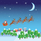 Santa Claus fly in sleigh with deers. — Stock Vector