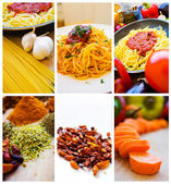 Food ingredients and pasta — Stock Photo