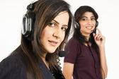 Portrait of a female customer services operator — Stock Photo
