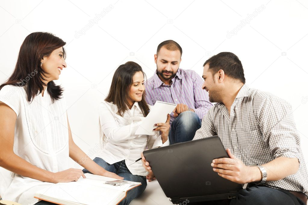 Group of a multi ethnic students studying together — Stock Photo #7461111