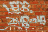 Herb Zone Graffitti on Red Brickwork — Foto Stock