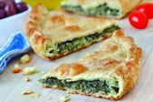 Spanakopita - Traditional greek spinach pie — Stock Photo