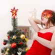 Stock Photo: Christmas beautiful young sexy womin red