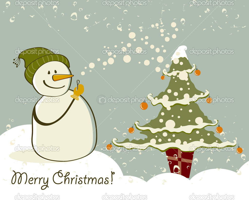 Snowman with gifts beside christmas tree.  — Stock Vector #6771083