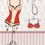 Vintage corset and bra — Stock Vector