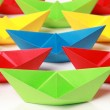 Colored paper boats — Stock Photo