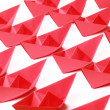 Red paper boats — Stock Photo