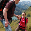 Couple hiking in mountains — Stock Photo #6865749