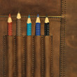 Stock Photo: Colored pencils in satchel