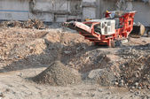 Sorting and recycling concrete debris — Stock Photo