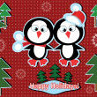 Stock Vector: Holidays banner with penguins