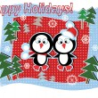 Holidays banner with penguins — Stock Vector