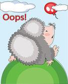 Hedgehog and flying balloon,oops. — Stock Vector