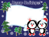 Holidays frame with penguins — Stock Vector